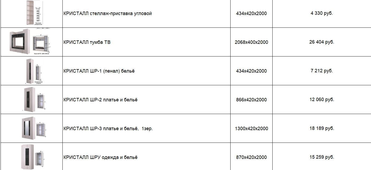 """Гостиная """"Кристалл"""""""